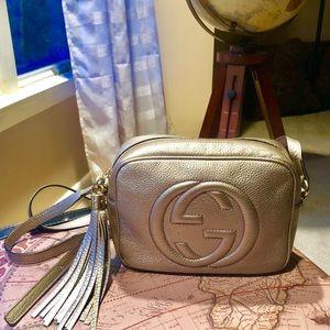 Gucci Soho Disco Bag Leather Purse Gold GG
